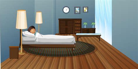 boy sleeping  bedroom   vector art