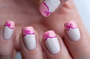 Simple pink white bow style nail art design trendy mods