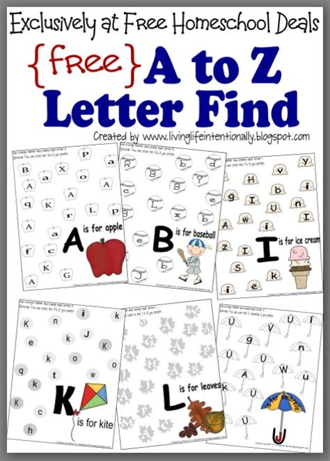 Free Instant Download Complete A To Z Letter Find Worksheet Packet (27pages)  Free Homeschool