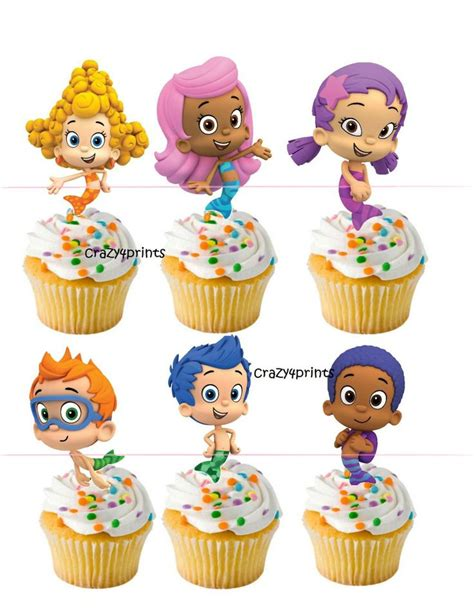 3 5 quot bubble guppies cupcake toppers stickers party
