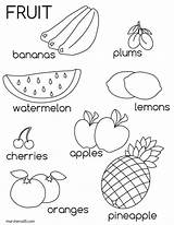 Fruit Fruits Coloring Worksheets Colouring Kindergarten Preschool Vegetable Sheets Printable sketch template