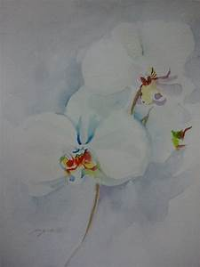 White Orchids flowers watercolor -Art- painting Original