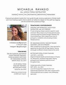 Yoga Teacher Resume Michaela Ravasio Yoga Instructor Resume By Michaela