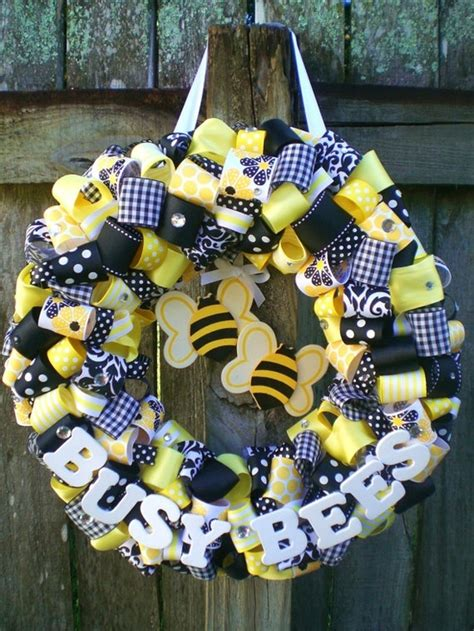 black  yellow bumble bee themed ribbon wreath