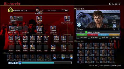 yakuza  rts minigame clan creator detailed character