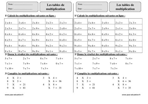 evaluation table multiplication ce2 tables de multiplication ce2 exercices corrig 233 s calcul math 233 matiques cycle 3 pass