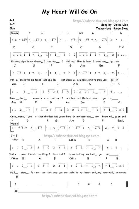pianika lagu laskar pelangi not angka my will go on berikut lirik dan chordnya celline dion sahabatku seni
