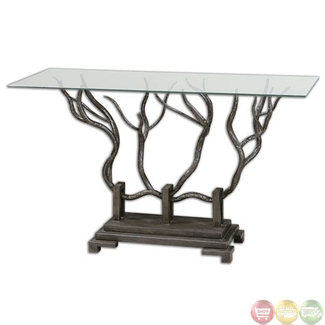 uttermost console tables esher tree metal base glass top console table 24402