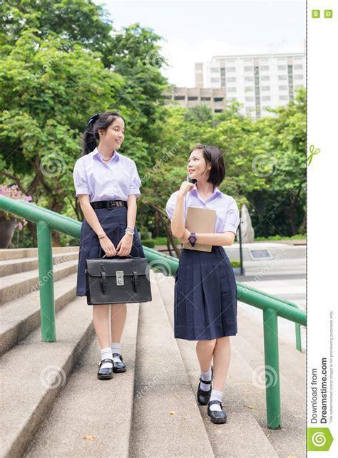 Asian Thai High Schoolgirls Student Couple In School