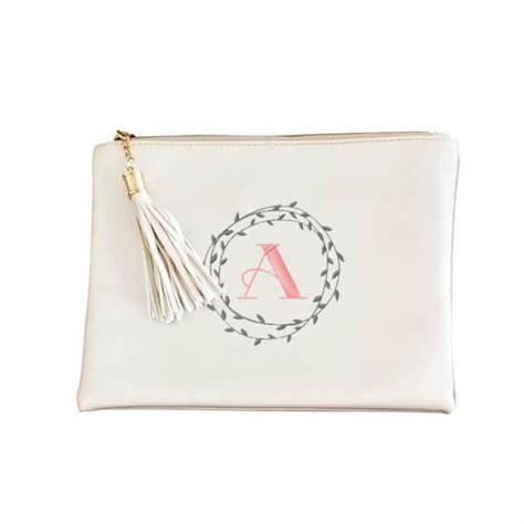 metallic zipper pouch  wreath monogram personalized brides