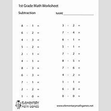 First Grade Subtraction Worksheet