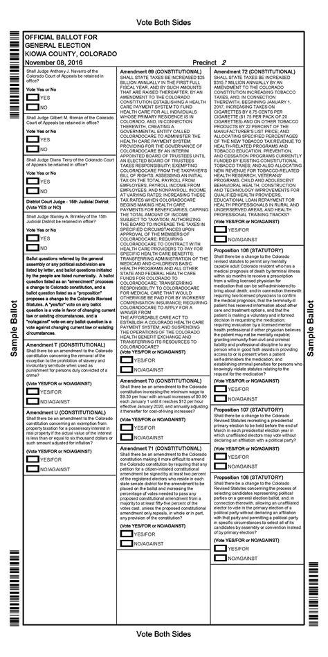 general election ballot  kiowa county