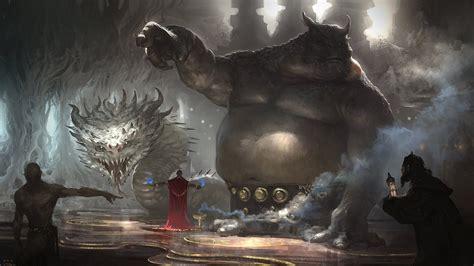 fantasy art snake giant trolls wizard wallpapers hd