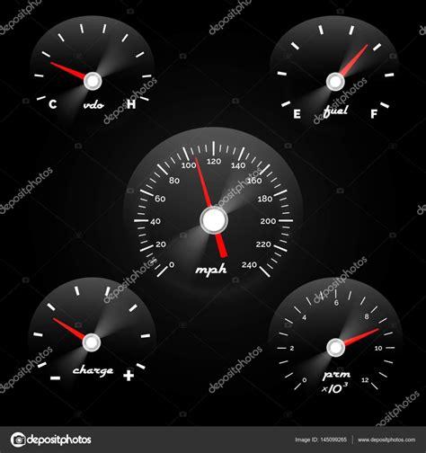 Car Dashboard Gauge On Black Background. Speed Concept
