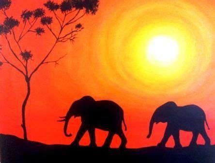elephant silhouette sunset painting original acrylic painting silhouette of elephants by