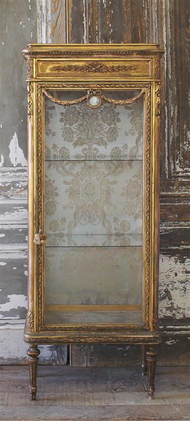 Louis Xvi Cabinet - antique gilt vitrine cabinet in the louis xvi style from