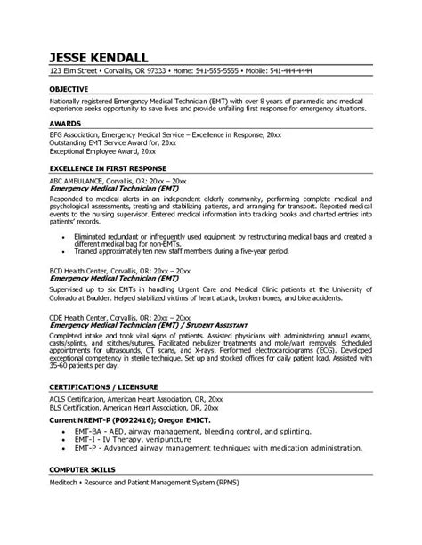 Emt Basic Resume Objective exle emt emergency technician resume free sle