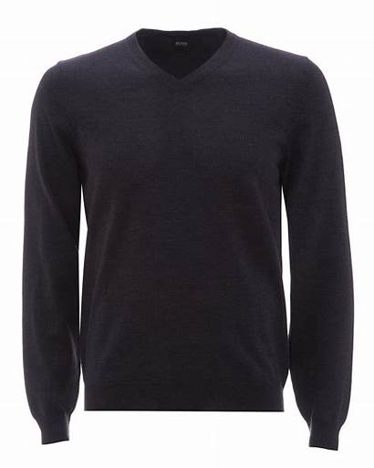 Grey Neck Jumper Mens Sweater Boss Baram