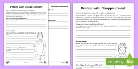 dealing with disappointment worksheets