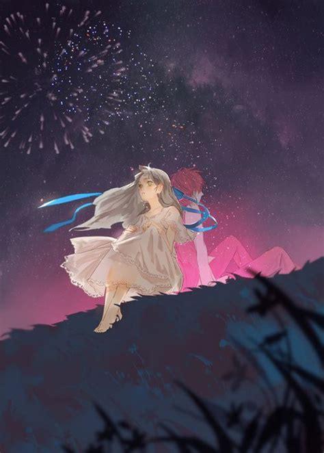 night   fireworks anime art fantasy anime couple