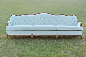 Victorian sofas chairs something vintage rentals for Mint green sectional sofa