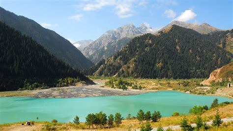 wallpaper lake issyk kul kyrgyzstan mountains forest