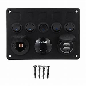 12  24v 5 Gang Blue Led Rocker Switch Panel Dual Usb Car