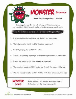 4th grade grammar negatives worksheets best 25 negative ideas on anger
