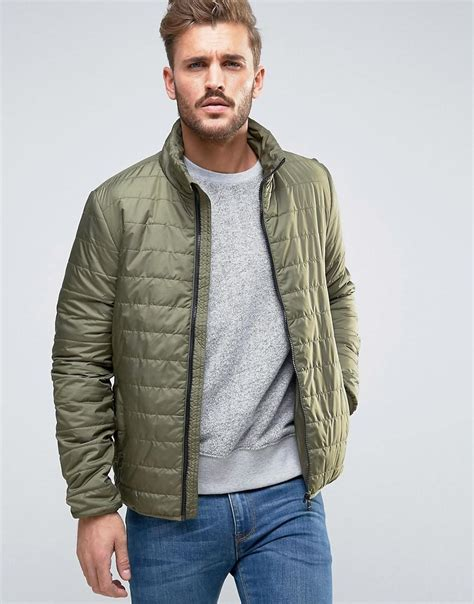 s lightweight quilted jacket only sons lightweight quilted jacket in green for lyst