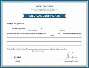 Free hospital medical certificate template 8 free word for Dr certificate template