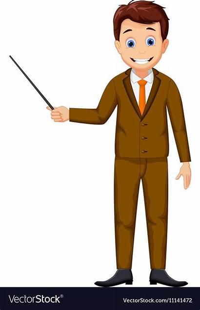 Teacher Cartoon Vector Pointer Holding Animated Teaching