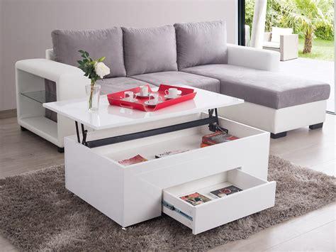 caisson à tiroir bureau table basse rectangulaire en bois plateau relevable l 110