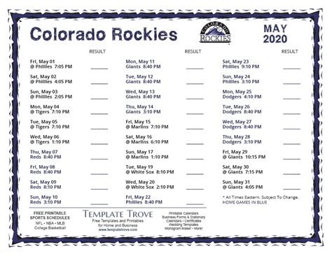 printable  colorado rockies schedule