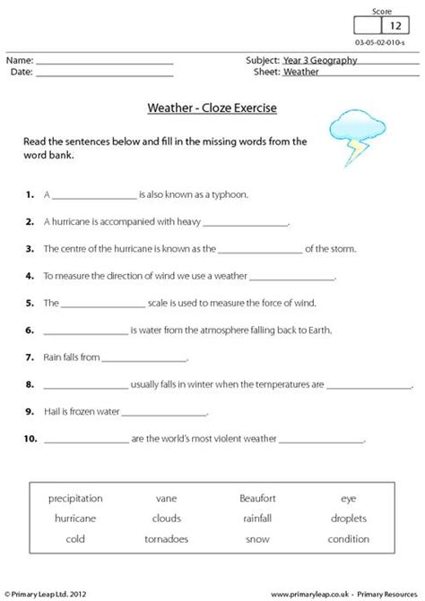 geography weather cloze activity worksheet