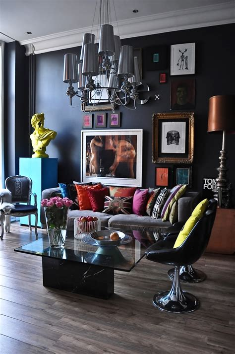 living room black walls awesome pop art and art deco london apartment digsdigs