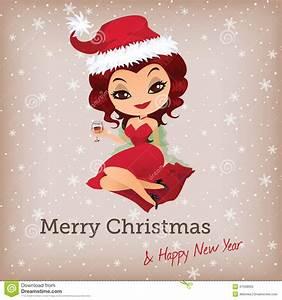 Christmas Card With Cute Santa Girl Stock Vector - Image ...