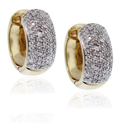 kt yellow gold diamond huggie earrings