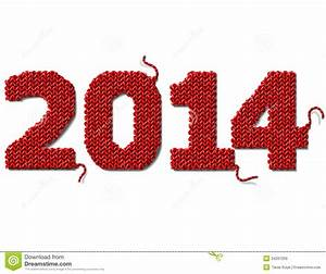 New Year 2014 Of Knitted Fabric Isolated On White Stock ...