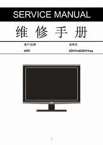 Aoc 2241vw U00262241vwg Lcd Monitor Service Manual  Service Manual  Repair Schematics
