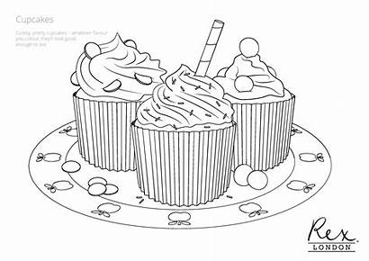 Colouring Baking Pages Cupcake Sheets London Cupcakes