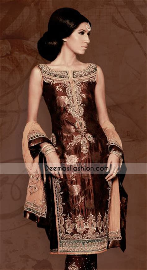 latest asian fashion dark brown jamawar dress latest