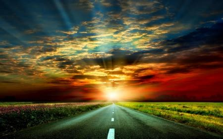 sunset road sunsets nature background wallpapers