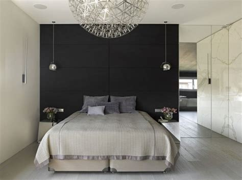 pendelleuchte schlafzimmer kleines schlafzimmer akzentwand schwarz spiegelwand