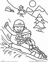 Coloring Sledding Winter Pages Printable Sheets Friends Snow Worksheet Christmas Potty Activities Sled Printables Parents Sheet Kindergarten Education Adult Colouring sketch template
