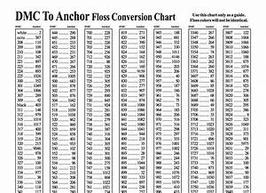 Embroidery Floss Conversion Chart Anchor To Dmc Conversion Charts For Embroidery Thread And Floss