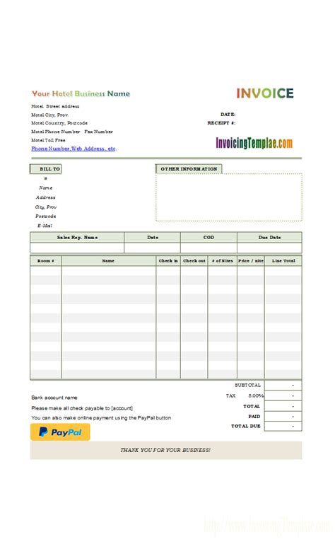 hotel bill format with online payment button receipts