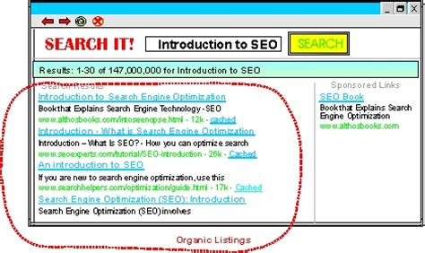 Organic Search Engine Marketing - seo organic listings definition and diagram