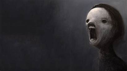 Scary Face Dark Background Depressing Screaming Wallpapers