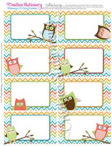 owl baby shower name tags orange green pink by creativestationery