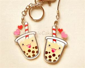 Bubble Tea Keychain Cute Boba Charm Phone Strap Kawaii